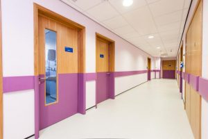 New Cross Hospital MLU Midwife Led Unit Wall & Door Protection 200mm Protection Rail Corridor